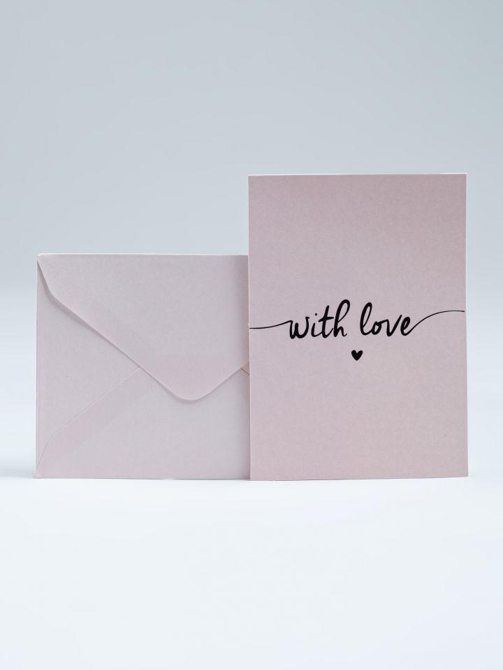 כרטיס ברכה WITH LOVE בצבע ורוד