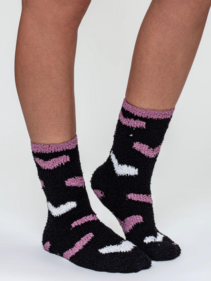 מארז 2 זוגות גרבי FLUFFY מדוגמים בצבע סגול