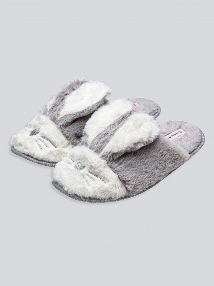 נעלי בית פרווה ארנבונים בצבע אפור גיר