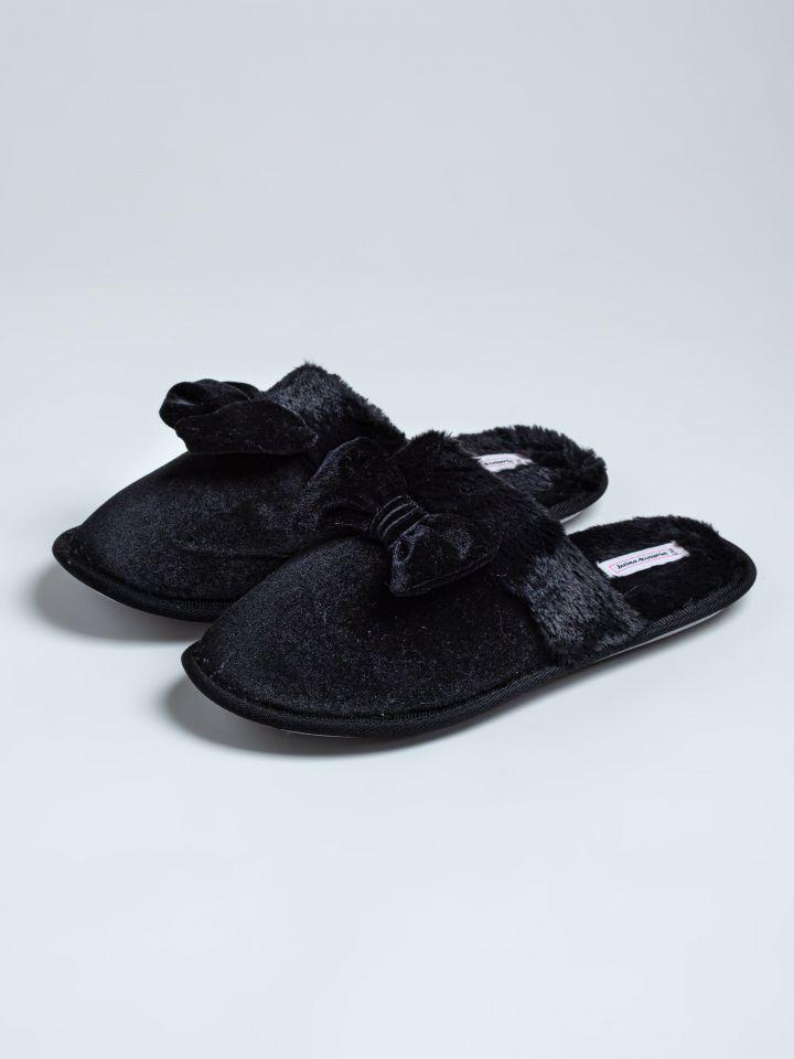 נעלי בית קטיפה בשילוב פפיון בצבע שחור