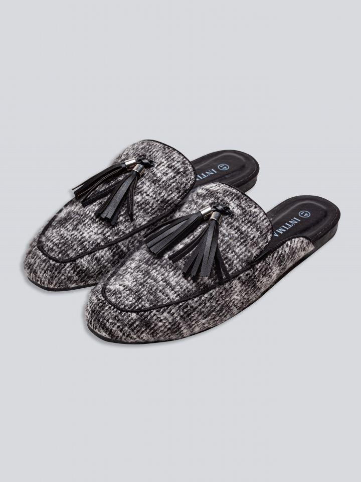 נעלי בית בשילוב גדיל בצבע אפור מלנג'