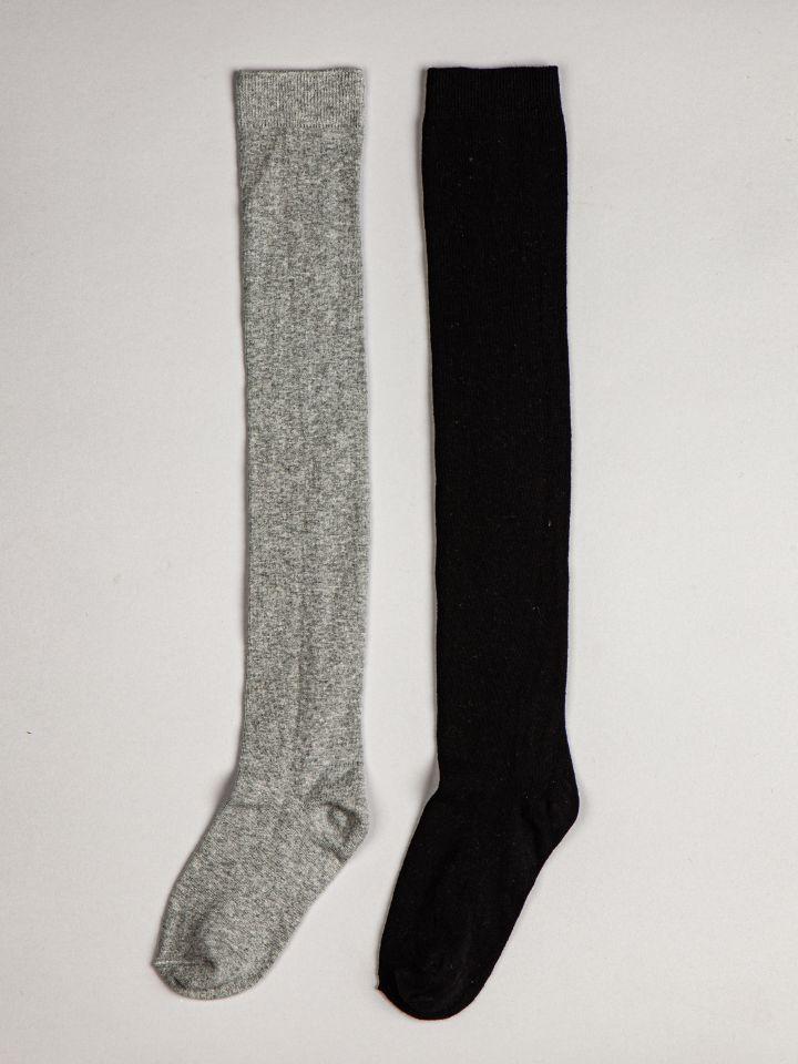 מארז 2 זוגות גרבי ברך כותנה בצבע אפור מרנגו