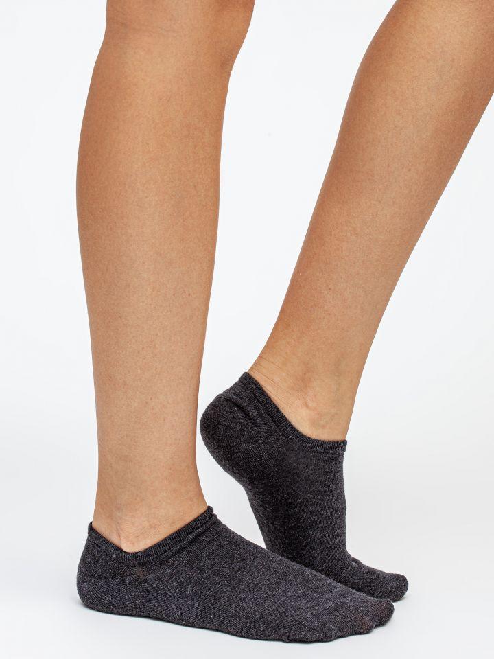 מארז 3 זוגות גרבי עקביות BACK TO BASIC בצבע אפור מלנג'