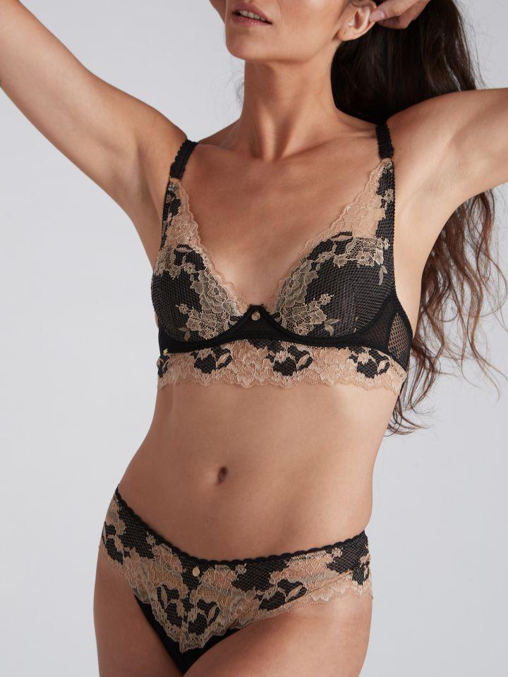 תחתון מיני תחרה  VALENCIA בצבע שחור