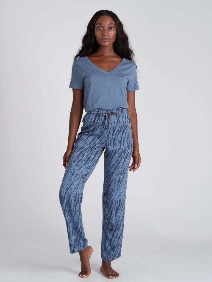 מכנסיים ארוכים מודפסים FLOW בצבע כחול