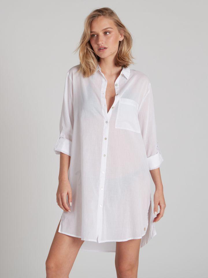חולצת חוף LOREN בצבע לבן