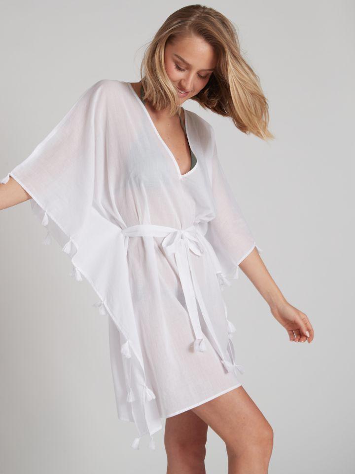 שמלת חוף BOHO בצבע לבן