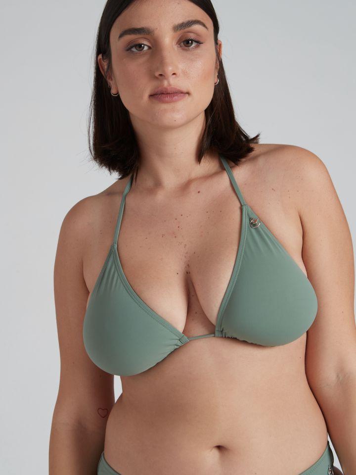 חזיית בגד ים בגזרת משולשים BASIC בצבע ירוק זית