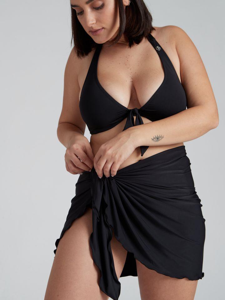 חצאית פראו עם קשירה ORLY בצבע שחור