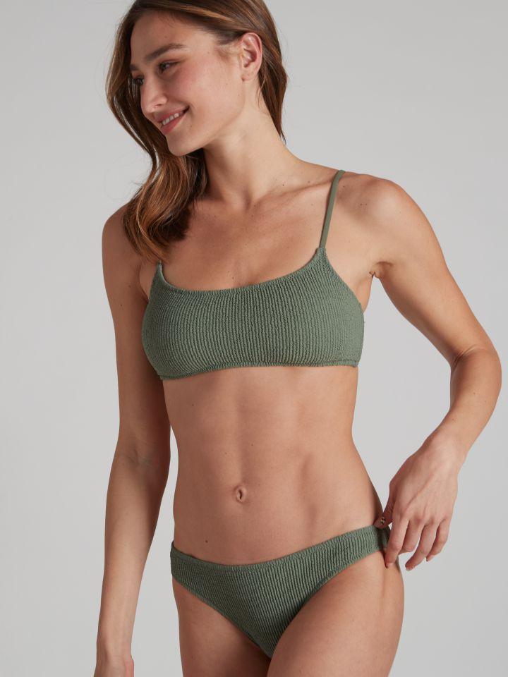 חזיית בגד ים בטקסטורת כיווצים TEXTURE בצבע ירוק מרווה