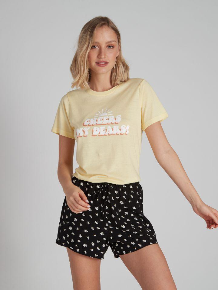 מכנסיים קצרים מודפסים RETRO FUN בצבע שחור