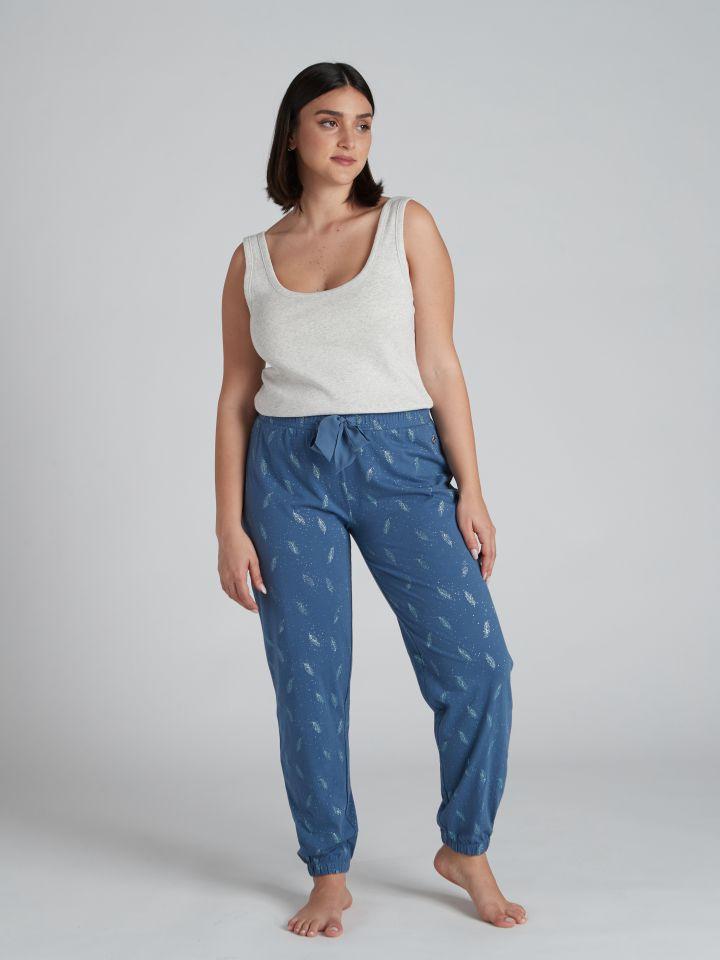 מכנסיים ארוכים FEATHERS בצבע כחול אוקיינוס
