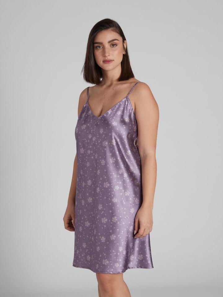 כותונת סאטן מודפסת VENUS בצבע סגול