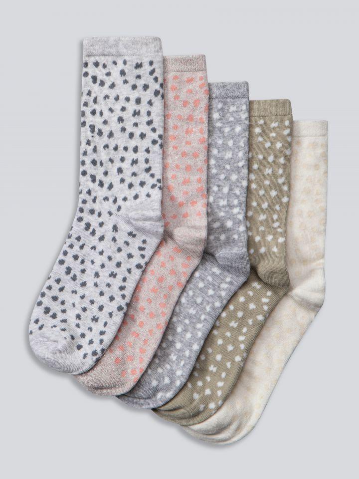 מארז 5 זוגות גרביים בצבע דפוס מנומר