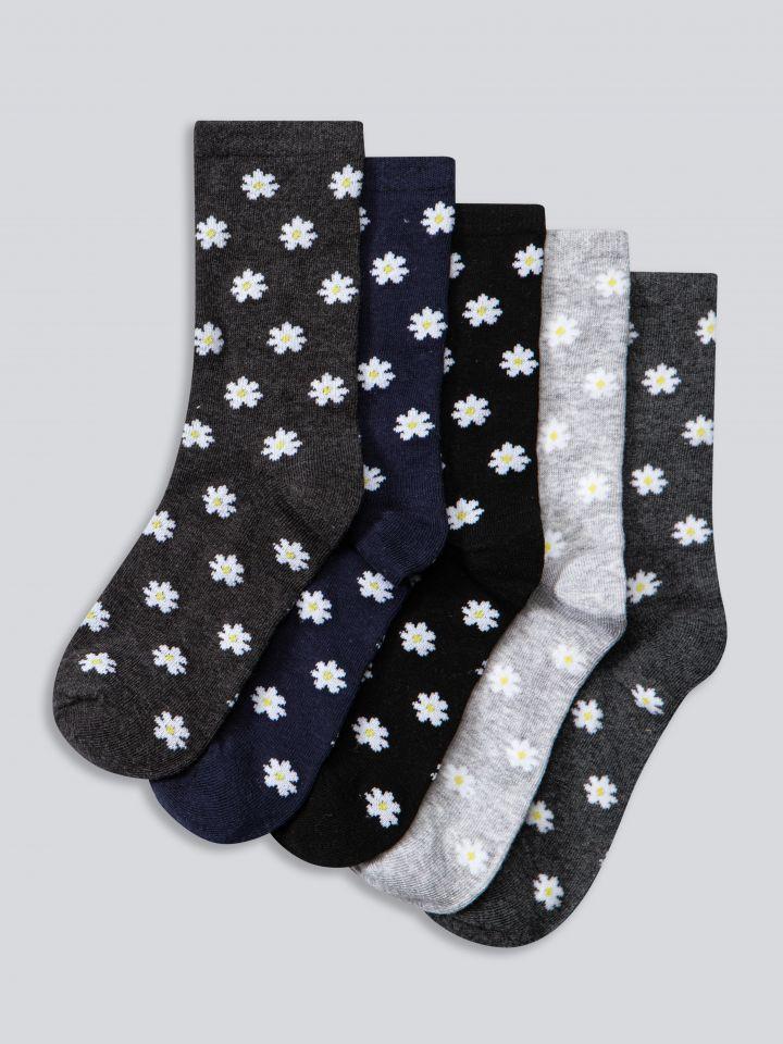 מארז 5 זוגות גרביים בצבע דפוס פרחים