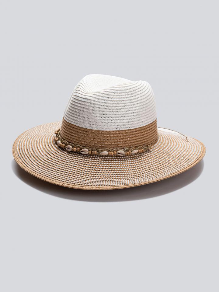 כובע רחב שוליים בצבע לבן