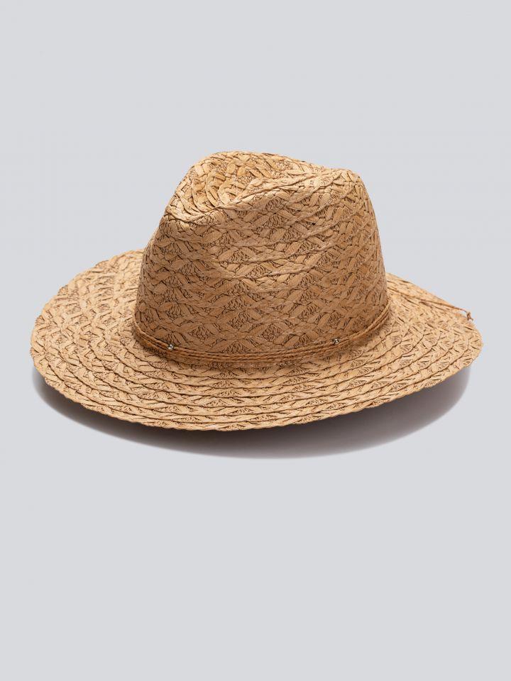 כובע רחב שוליים בצבע צבע טבעי