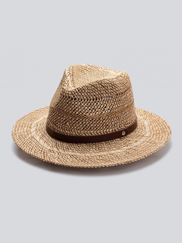 כובע רחב שוליים בדיגום קלוע בצבע אבן