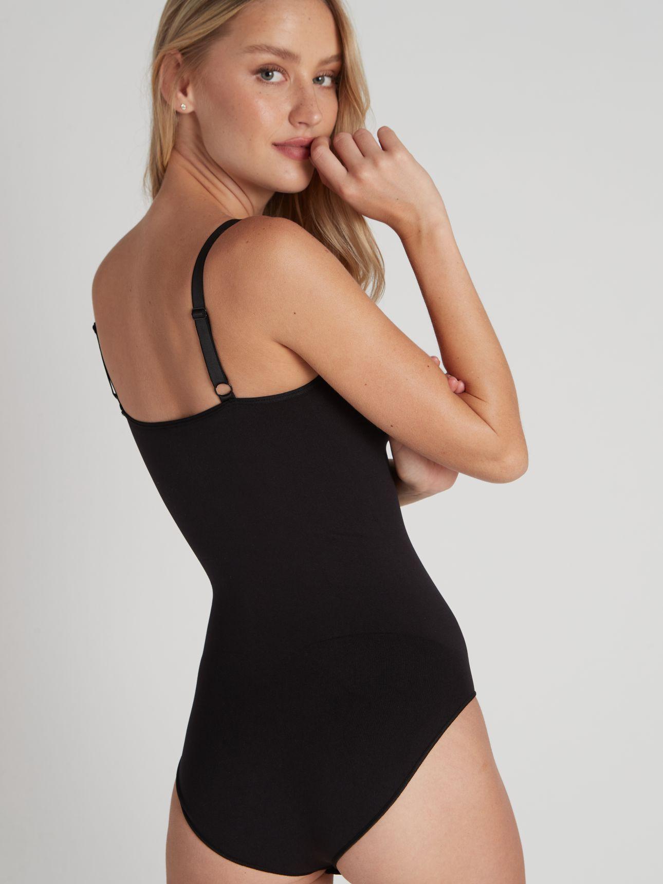 בגד גוף מחטב ללא תפרים בצבע שחור