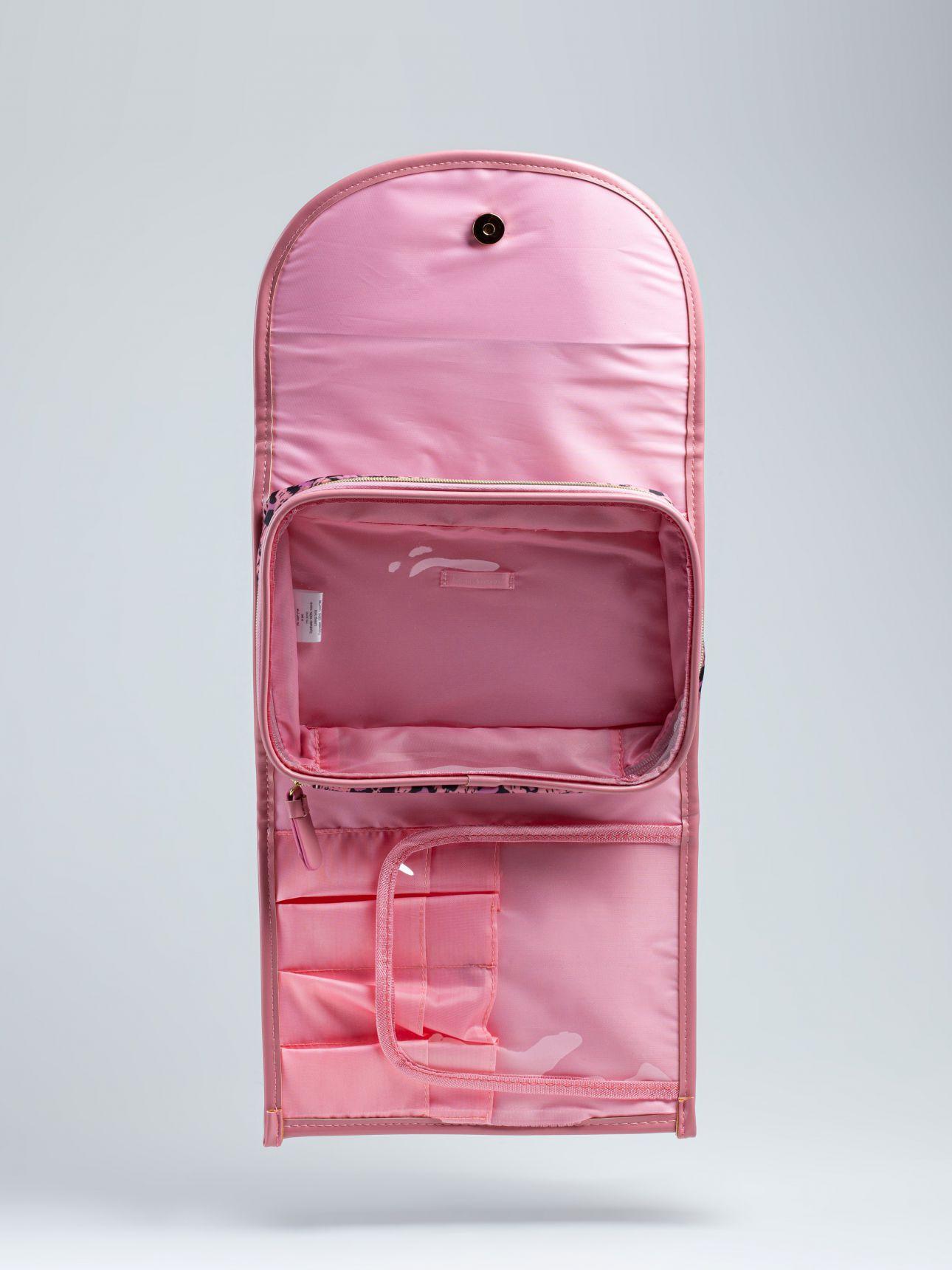 תיק רחצה מנומר חלוקה פנימית בצבע סגול בהיר