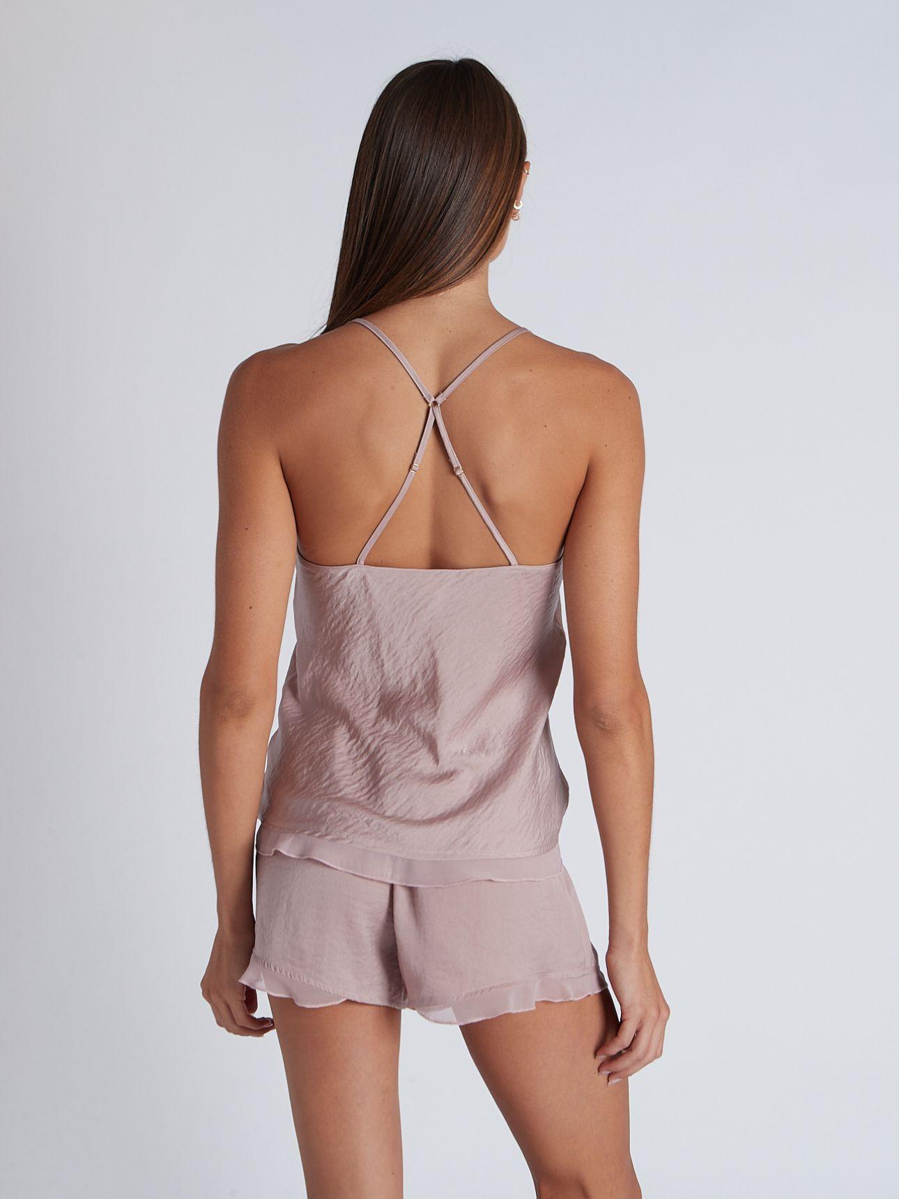 מכנסי סאטן קצרים SPORTY ROMANCE בצבע פודרה