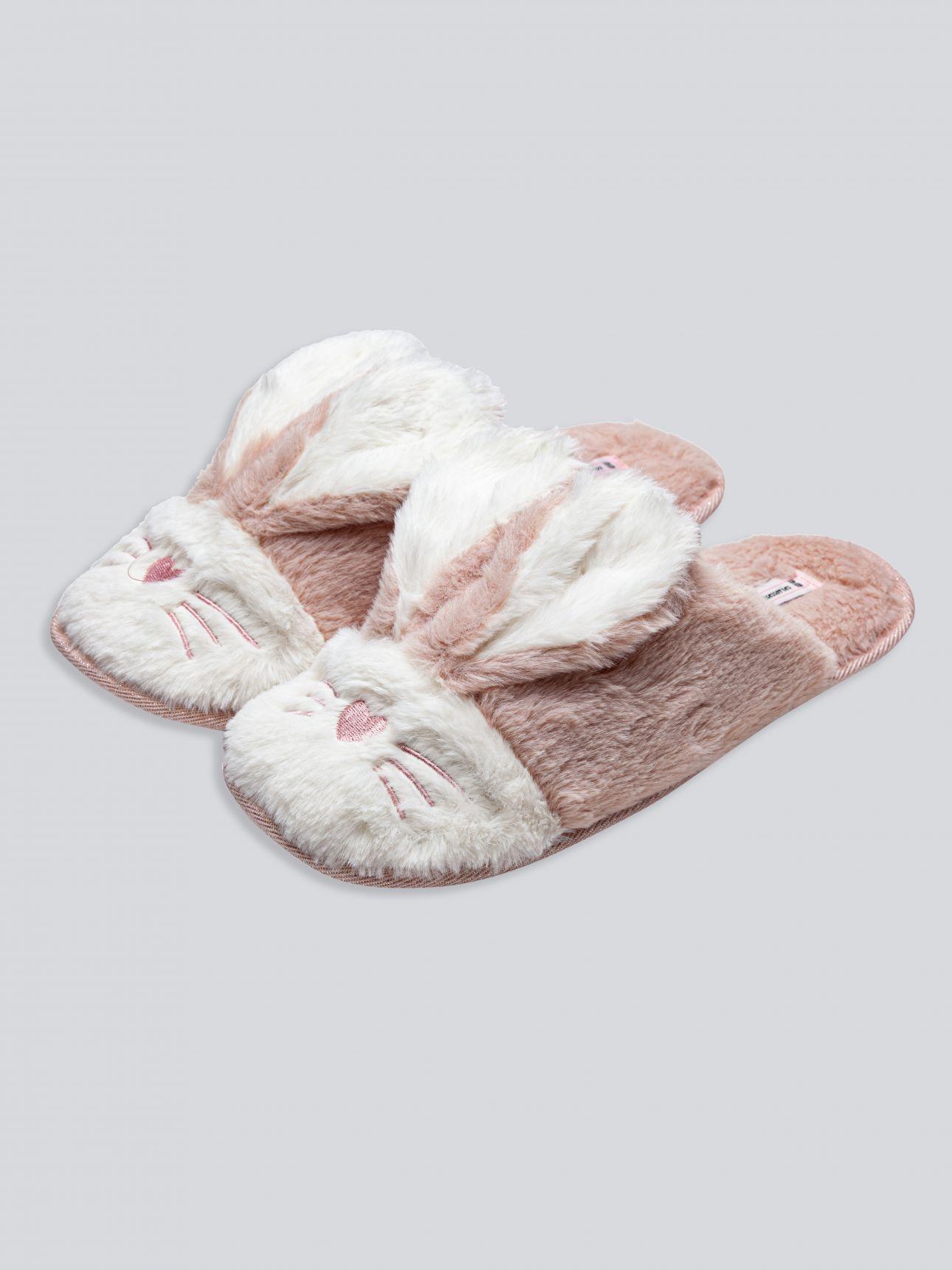 נעלי בית פרווה ארנבונים בצבע ורוד