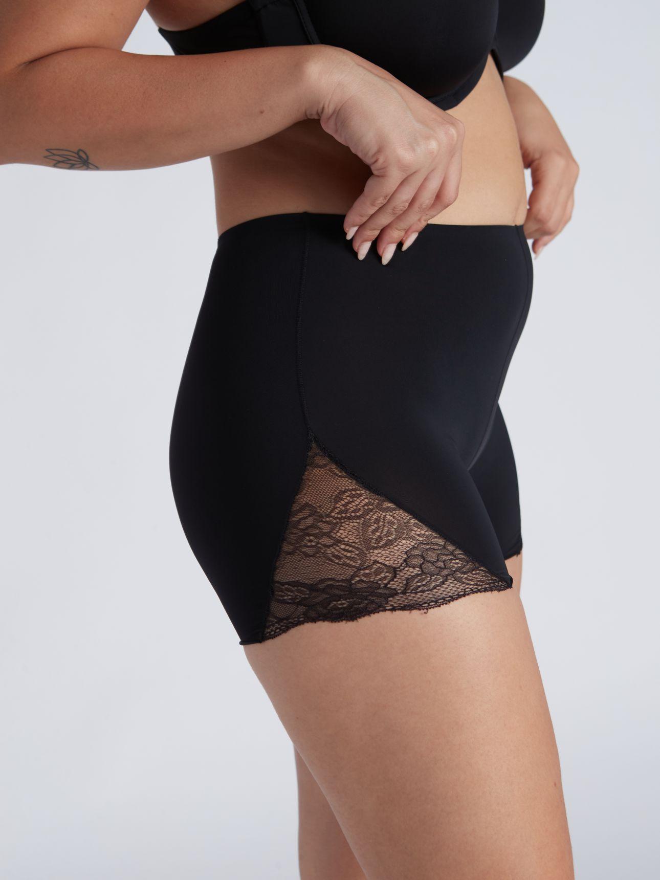 מחליק מכנס מיקרופייבר בשילוב תחרה בצבע שחור