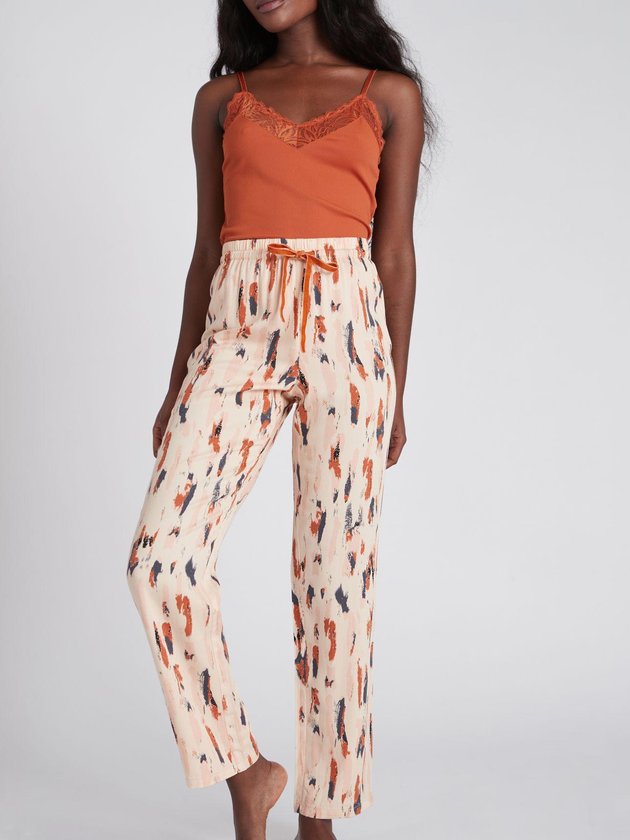 מכנסיים ארוכים מודפסים FLOW בצבע אבן