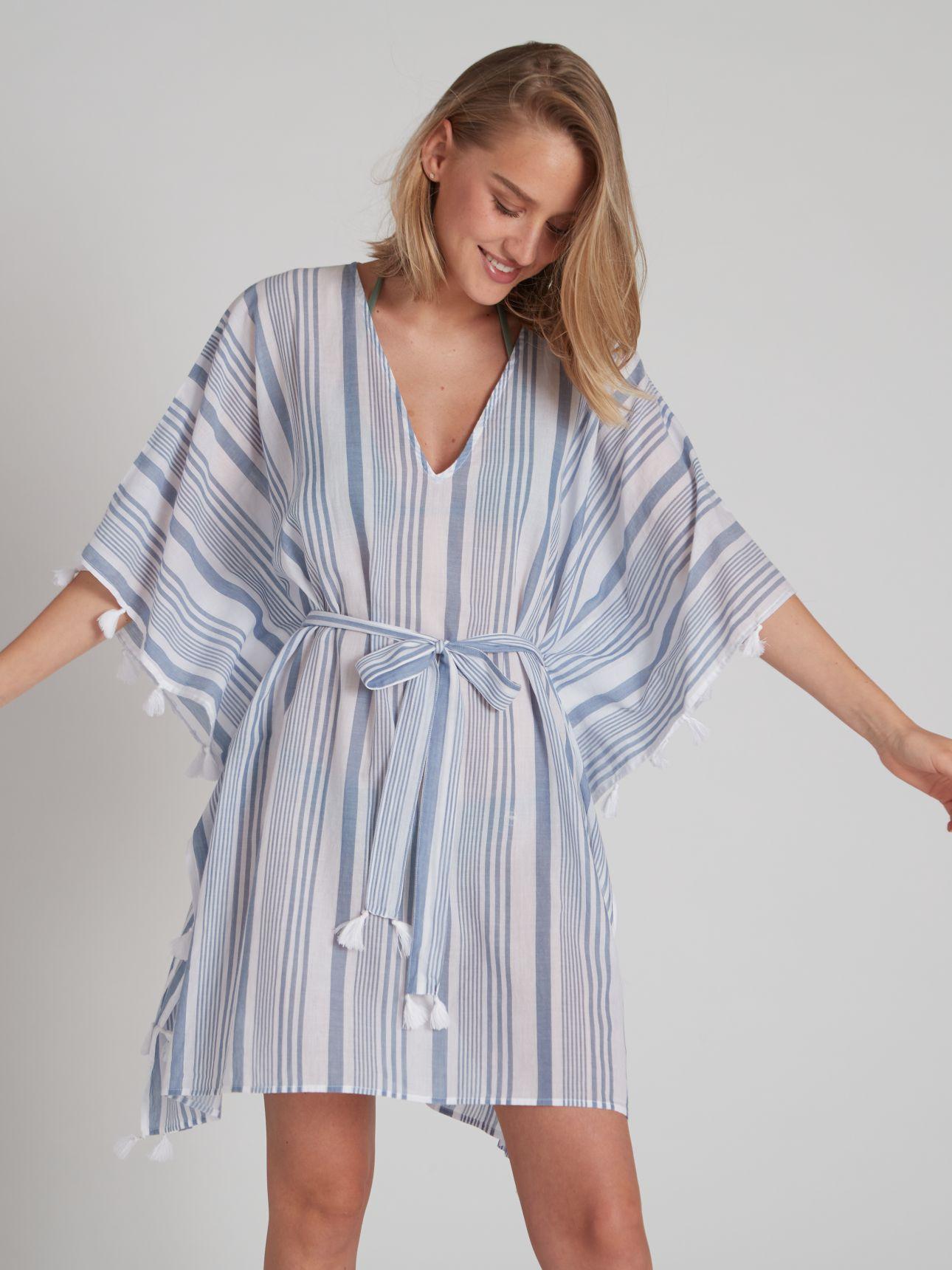 שמלת חוף BOHO בצבע נייבי