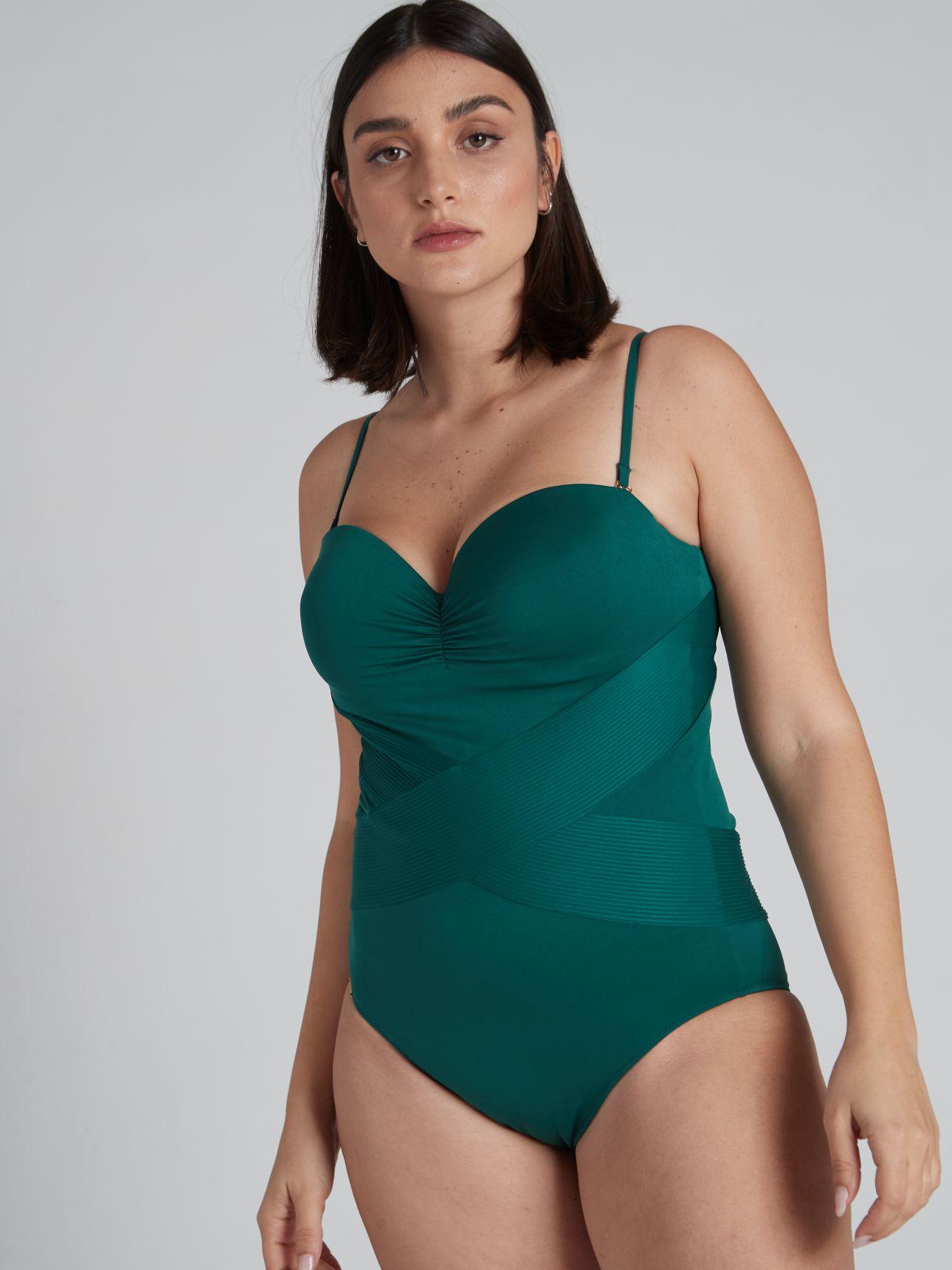 בגד ים שלם בגזרת סטרפלס SELMARK בצבע ירוק