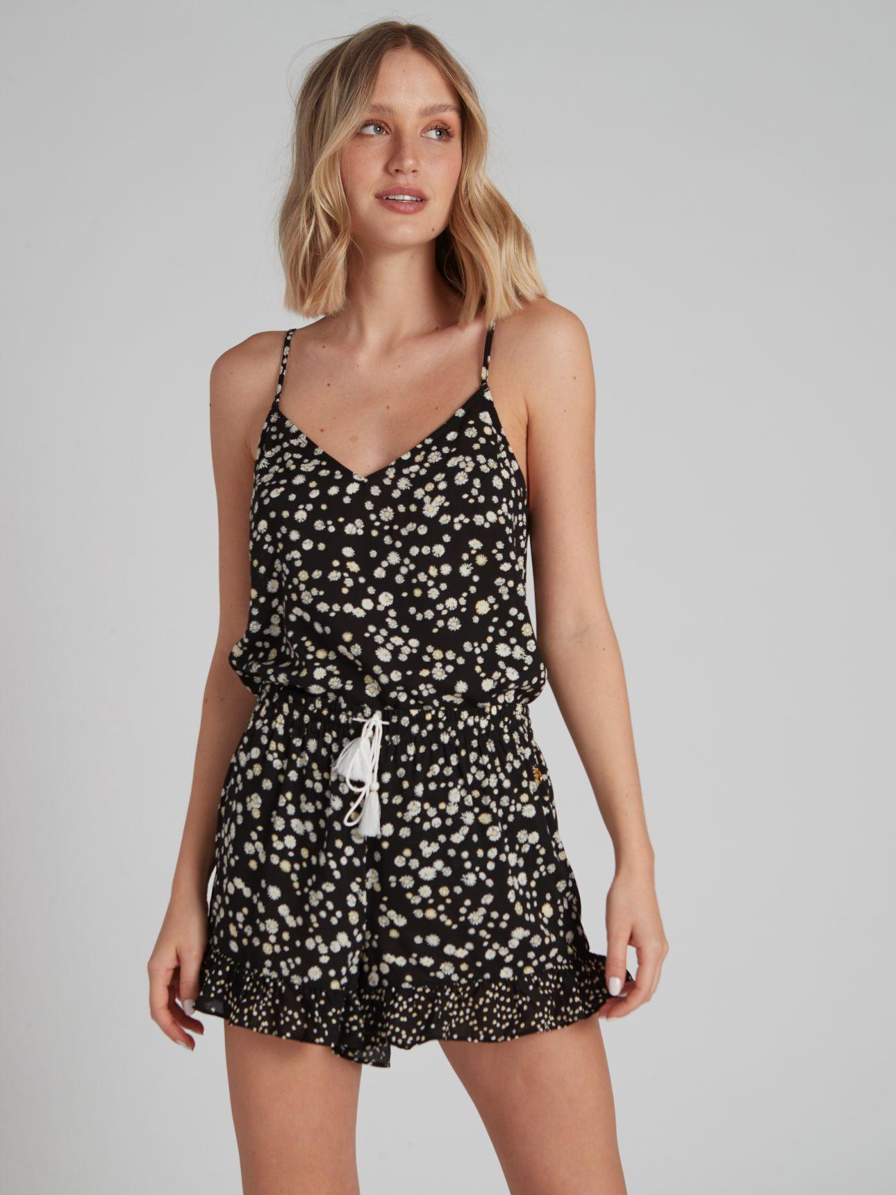 מכנסיים קצרים SUMMER FLOWER בצבע שחור+לבן